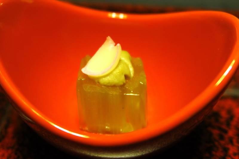 鎌先温泉 時音の宿 湯主 一條 夕食の蕗煮凝り 蟹味噌