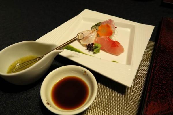 お造り  勘八(かんぱち)炙り 金目鯛 妻物 カルパッチョ仕立て 紫蘇ドレッシング