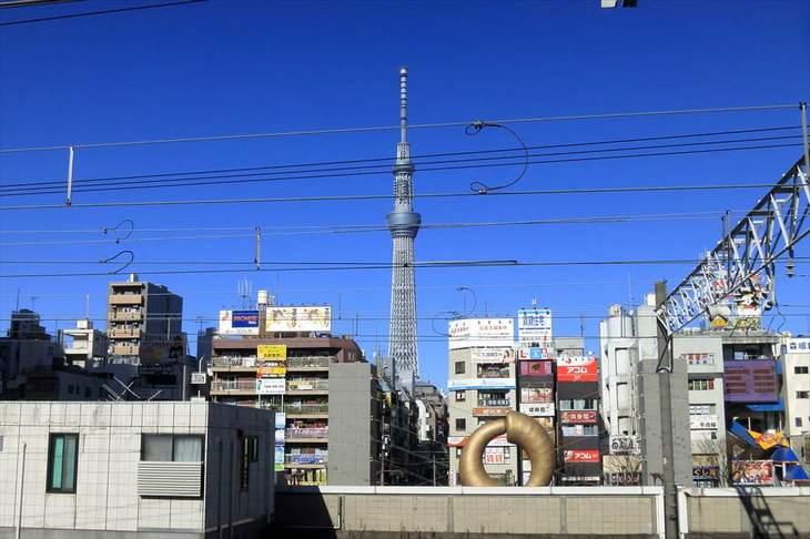 錦糸町駅ホームから見る東京スカイツリー