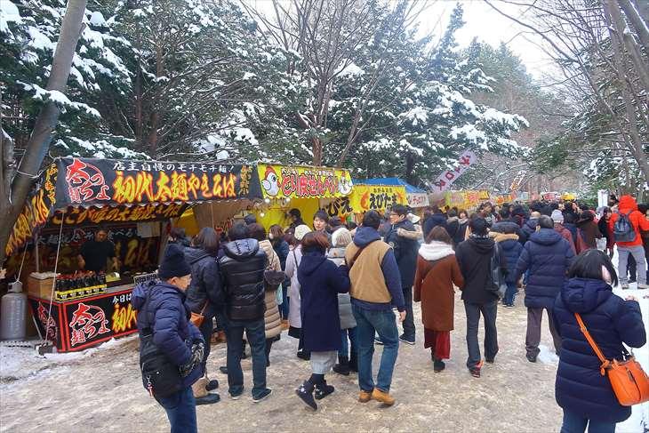 北海道神宮 初詣の様子 露店