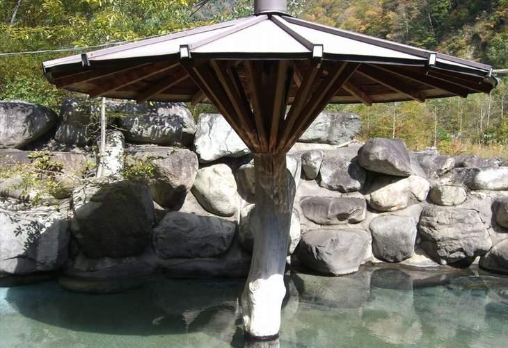 露天風呂の屋根