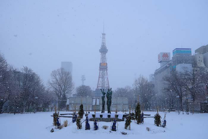 2018年1月の札幌 大通公園とさっぽろテレビ塔