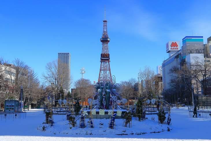 2018年12月の札幌 大通公園とさっぽろテレビ塔