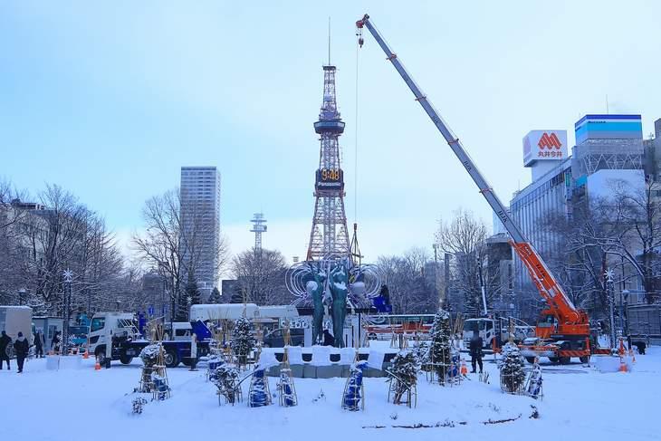 2019年1月の札幌 大通公園とさっぽろテレビ塔