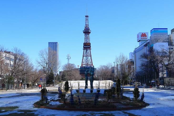 2019年3月の札幌 大通公園とさっぽろテレビ塔
