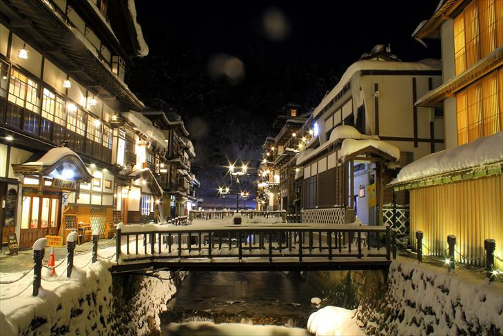 銀山温泉街の夜景