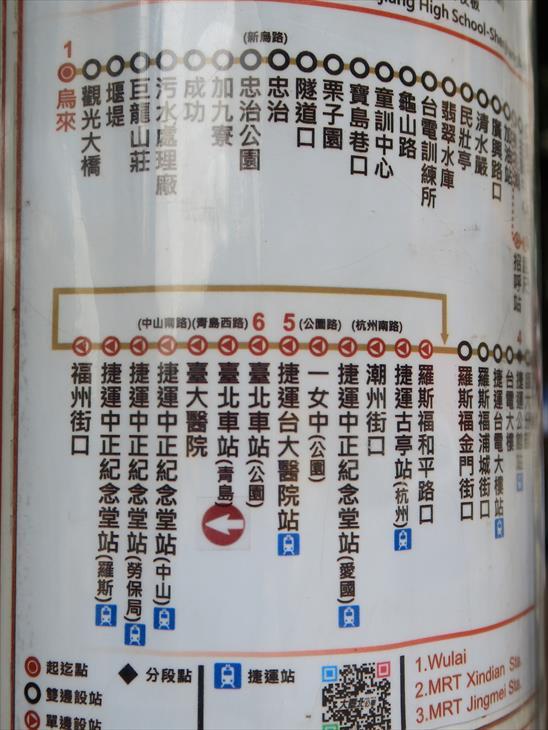 烏來行きのバスの路線図