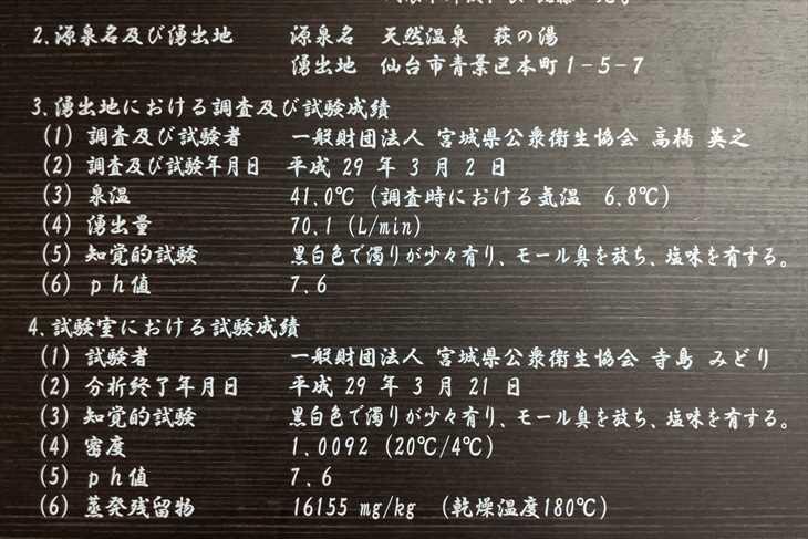 ドーミーイン仙台駅前 温泉成分表
