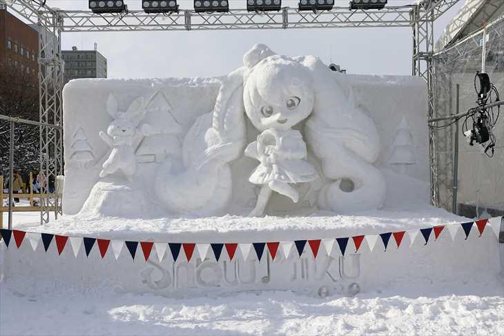 大通公園11丁目 小雪像「雪ミク(初音ミク)Snow Parade Ver.」