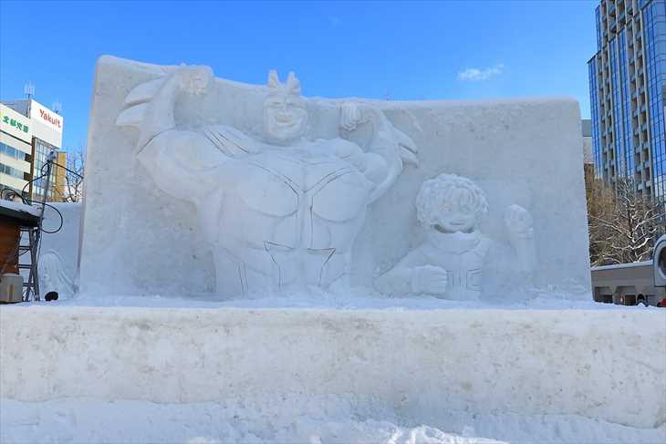 大通公園7丁目 中雪像「僕のヒーローアカデミア」