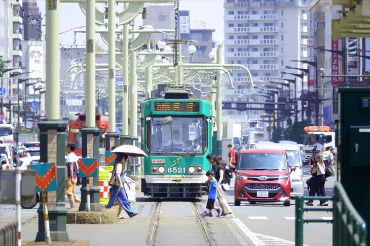 資生館小学校前 風致地区から見る路面電車