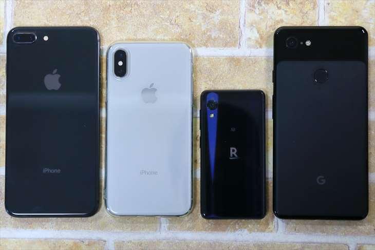 Rakuten Miniと他のiPhoneとの大きさ比較