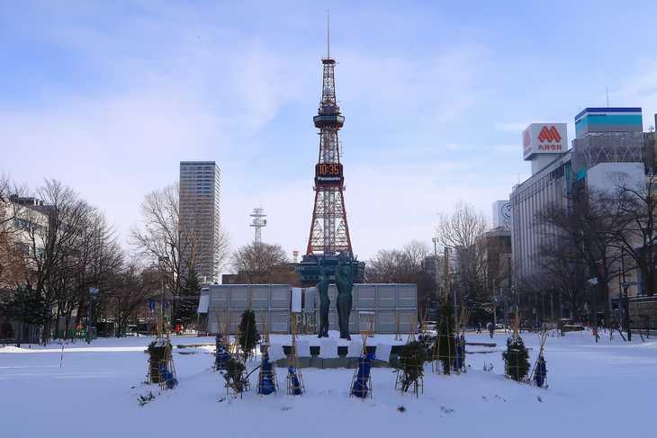 2019年1月の大通公園とさっぽろテレビ塔