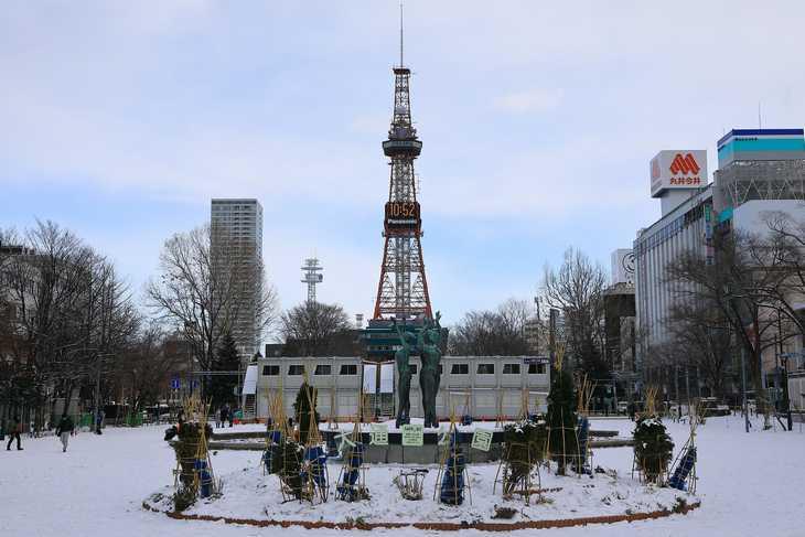 2020年1月の大通公園とさっぽろテレビ塔
