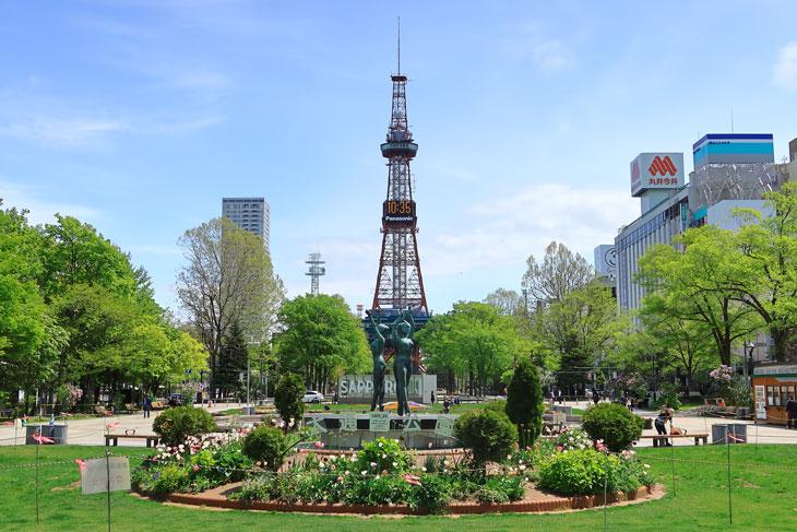 2020年5月の大通公園とさっぽろテレビ塔